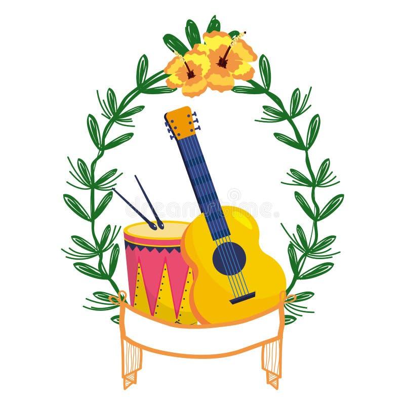 Chitarra e tamburo sulla corona dell'alloro royalty illustrazione gratis