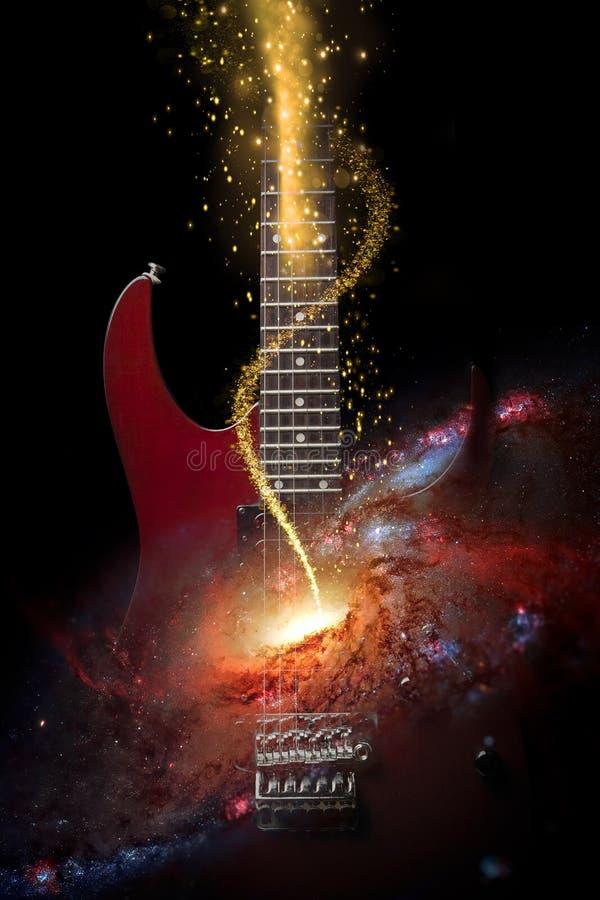 Chitarra elettrica nello spazio immagine stock libera da diritti