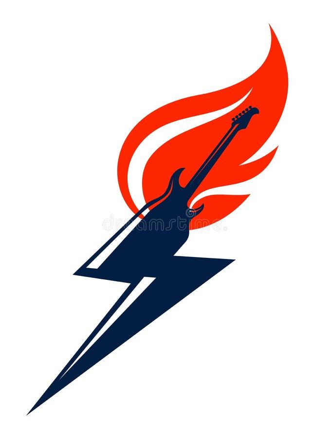 Chitarra elettrica su fuoco in una forma di fulmine, della chitarra calda di musica rock in fiamme e del bullone, del concerto di royalty illustrazione gratis
