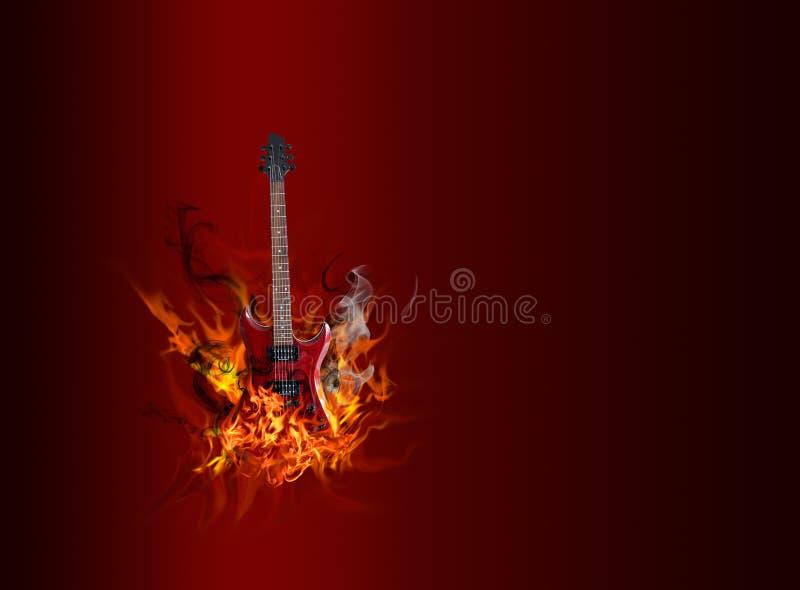 Chitarra in fiamme immagine stock