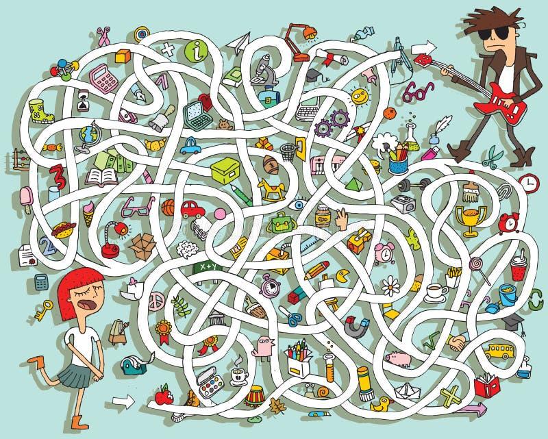 Chitarra Maze Game. Soluzione nello strato nascosto! royalty illustrazione gratis