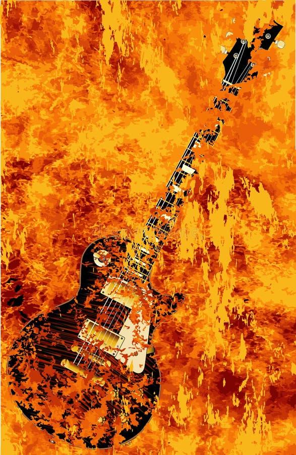 Chitarra nera bruciante della roccia illustrazione vettoriale