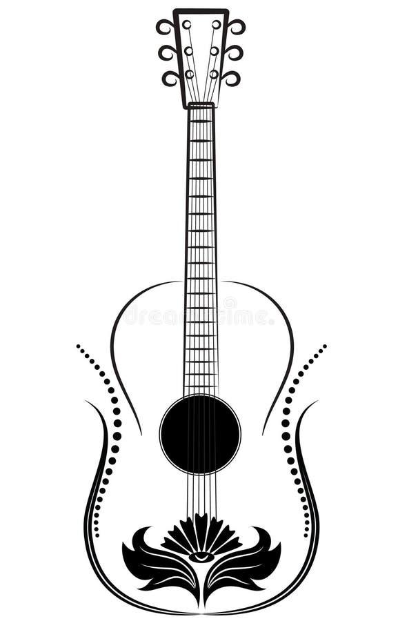 Chitarra. Ornamento decorativo. illustrazione vettoriale