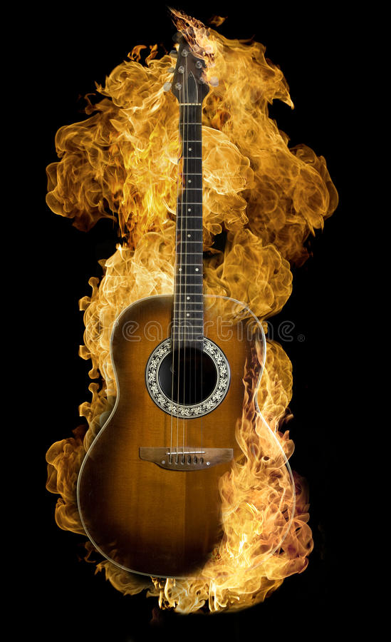 Chitarra spagnola Burning fotografia stock libera da diritti