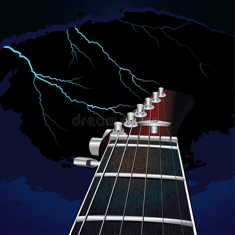 Chitarra su un fondo del cielo con fulmine illustrazione vettoriale