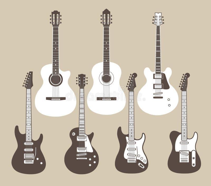 Chitarre acustiche ed elettriche illustrazione vettoriale