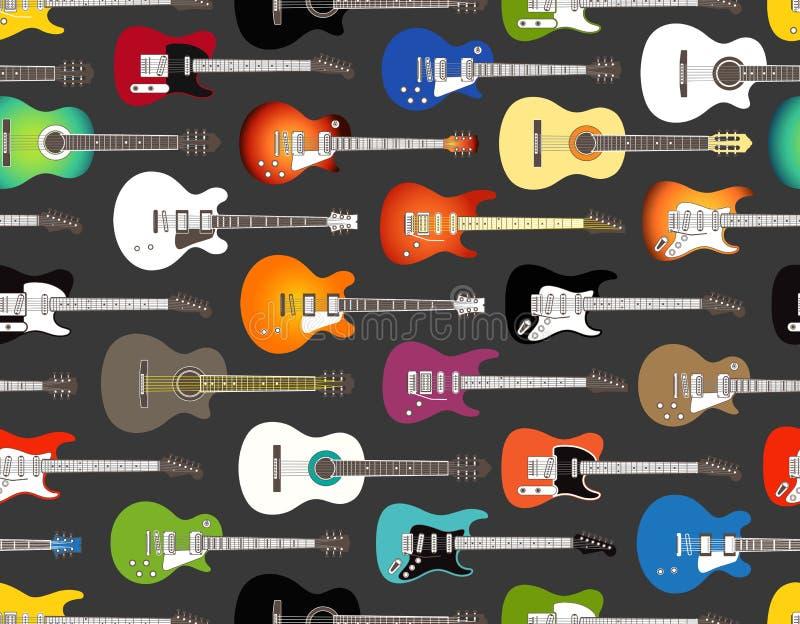 Chitarre acustiche ed elettriche di colore illustrazione di stock