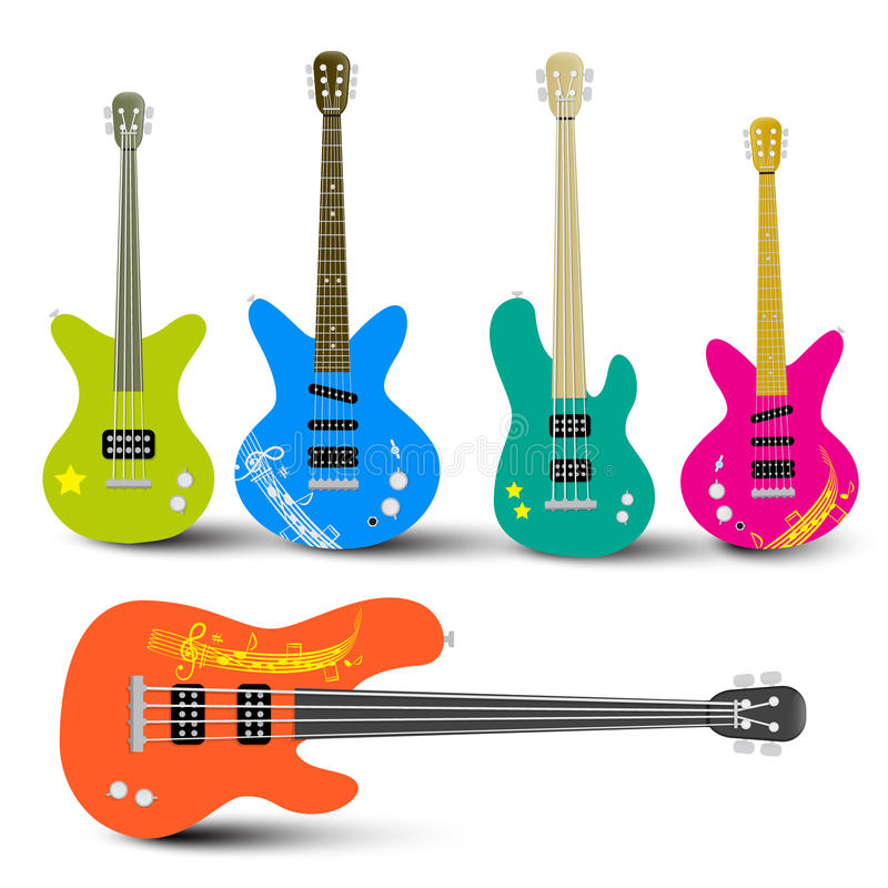 Chitarre e Bass Guitars Set royalty illustrazione gratis
