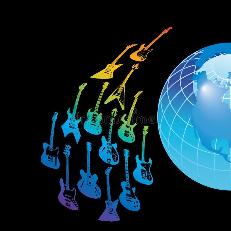 Chitarre e globo illustrazione di stock