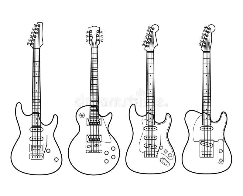 Chitarre elettriche isolate su bianco illustrazione vettoriale