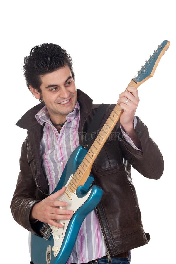 Chitarrista con il rivestimento di cuoio fotografie stock