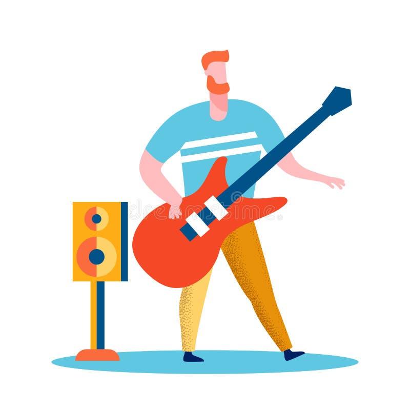Chitarrista, illustrazione piana di vettore del rock star illustrazione di stock