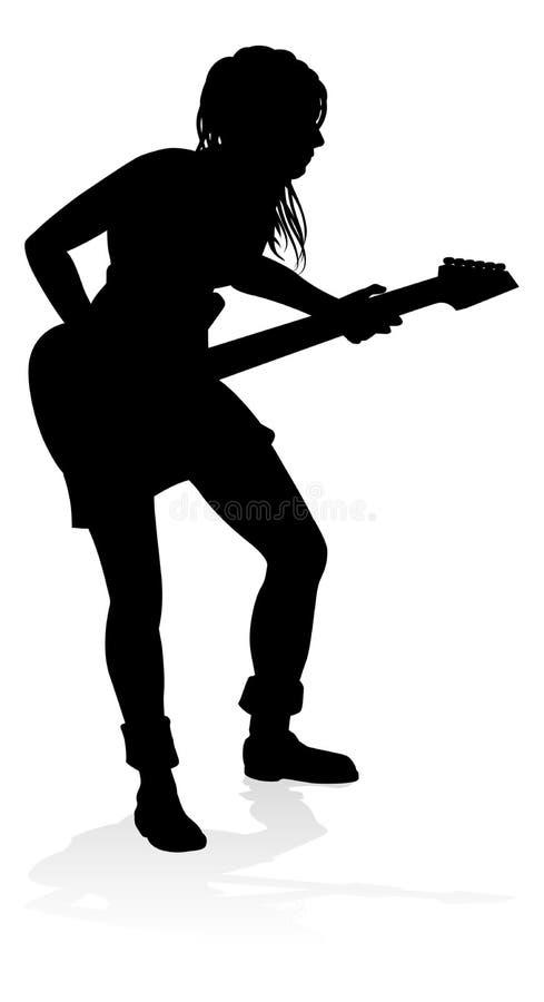 Chitarrista Silhouette del musicista illustrazione di stock
