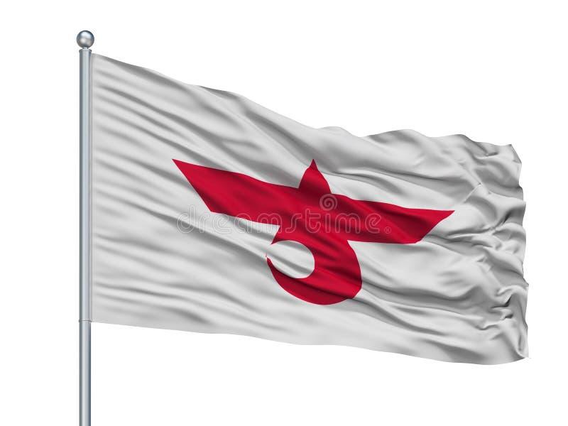 Chitose City Flag On Flagpole, Japón, prefectura de Hokkaido, aislada en el fondo blanco libre illustration