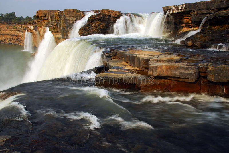 Chitrakoot falls in India. The waterfalls is formed by the Indravati River in Chattisgarh region. It is the largest waterfall in India. The height of the falls stock photo