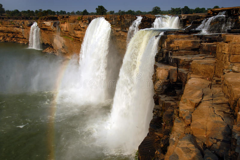 Chitrakoot waterfalls in India. The waterfall is formed by the Indravati River in Chattisgarh region. It is the largest waterfall in India. The height of the stock photo