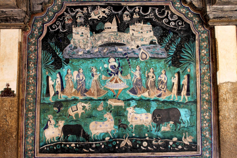 Chitrasala - Bundi - Rajasthan arkivbilder