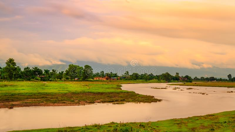 Chitwan in Nepal. A view over the Chitwan in Nepal stock image