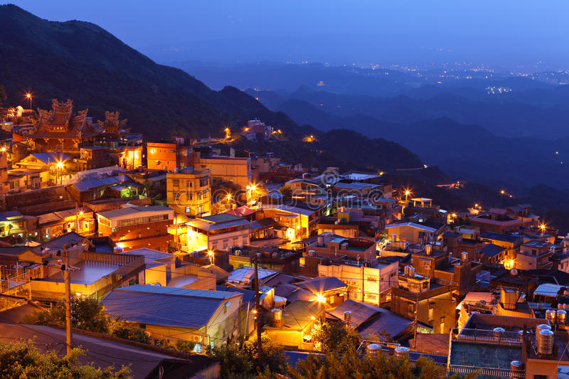 Chiu fen village at night. In Taiwan royalty free stock photography