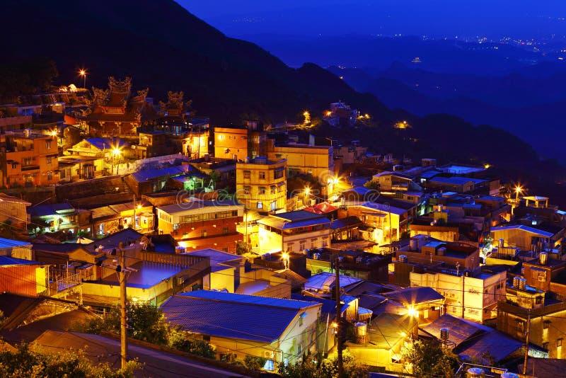 Chiu fen village in Taiwan. Chiu fen village at night, in Taiwan stock images