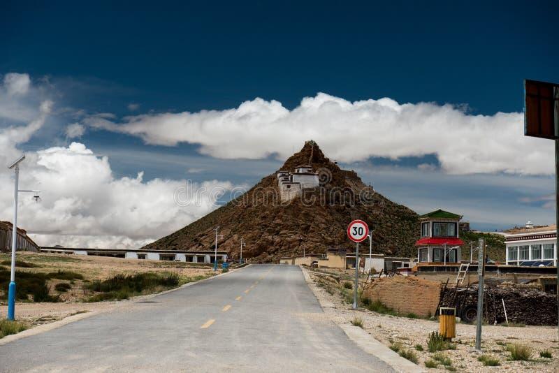 Chiu Gompa Monastery on high mountain in Himalayas Tibet. Kailash Yantra.lv 2016 TIBET royalty free stock photography