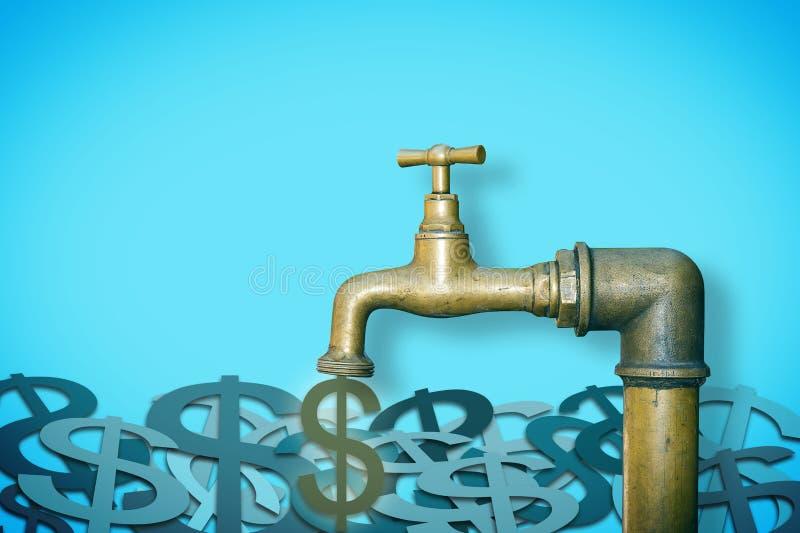 Chiuda il rubinetto: non sprechi la vostra immagine soldi di concetto con il rubinetto di brassa da cui i dollari escono fotografia stock
