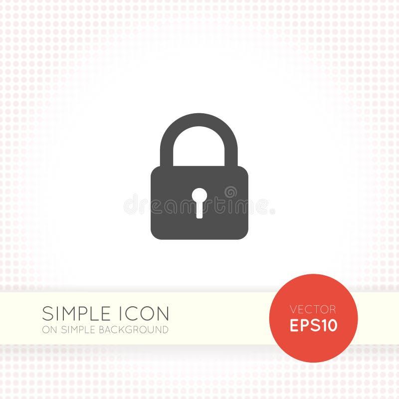 Chiuda l'icona a chiave piana isolata su fondo semplice illustrazione vettoriale
