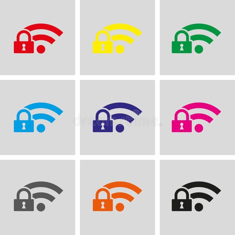 Chiuda la progettazione a chiave piana dell'illustrazione di vettore delle azione dell'icona di wifi illustrazione di stock