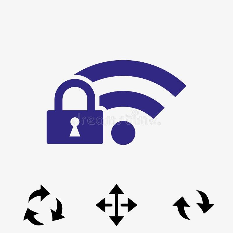 Chiuda la progettazione a chiave piana dell'illustrazione di vettore delle azione dell'icona di wifi illustrazione vettoriale