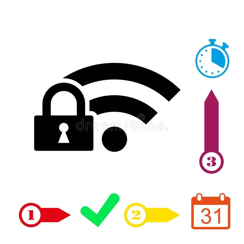 Chiuda la progettazione a chiave piana dell'illustrazione di vettore delle azione dell'icona di wifi royalty illustrazione gratis