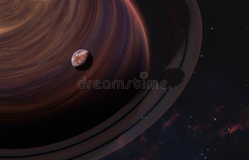 Chiuda su al pianeta rosso sopra il gigante di gas con gli anelli sul fondo della nebulosa Elementi di questa immagine ammobiliat fotografia stock libera da diritti