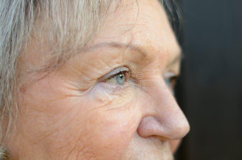 Chiuda su degli occhi azzurri di una signora anziana fotografia stock libera da diritti