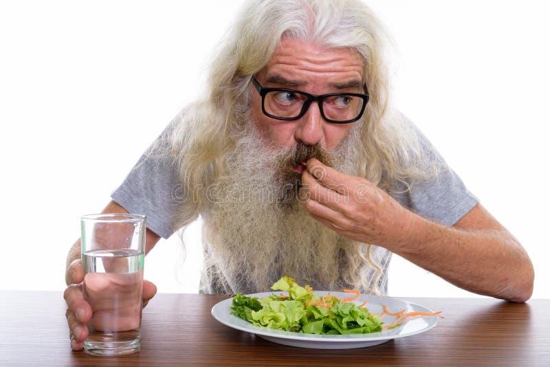 Chiuda su degli occhiali di pensiero e d'uso barbuti senior w dell'uomo fotografia stock