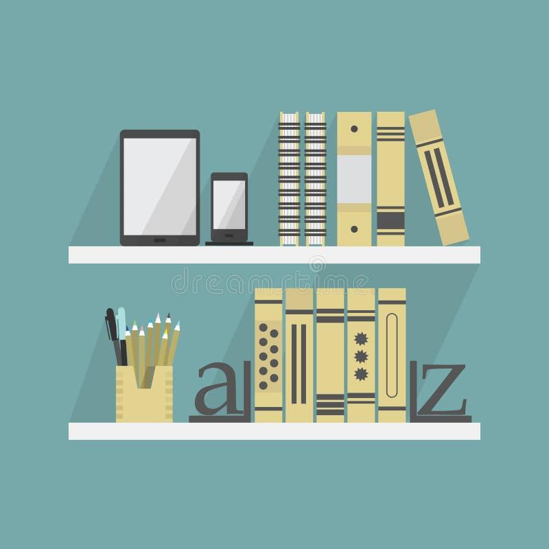 Chiuda su degli scaffali con alcuni libri ed accessori illustrazione vettoriale