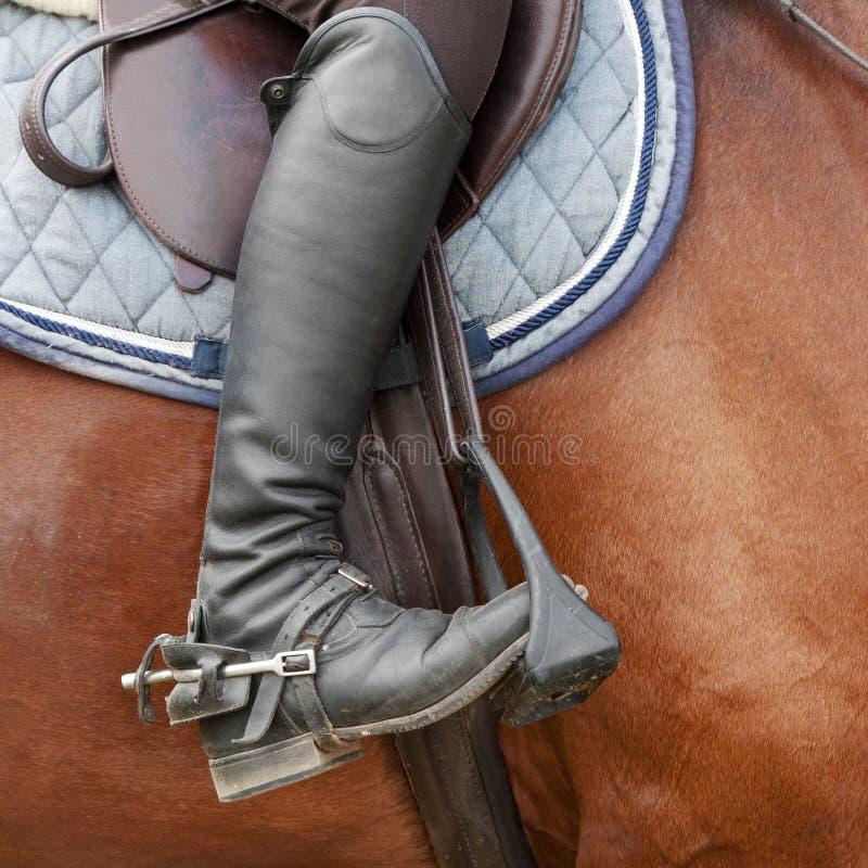 Chiuda su degli stivali da equitazione, della sella e della staffa della puleggia tenditrice fotografia stock