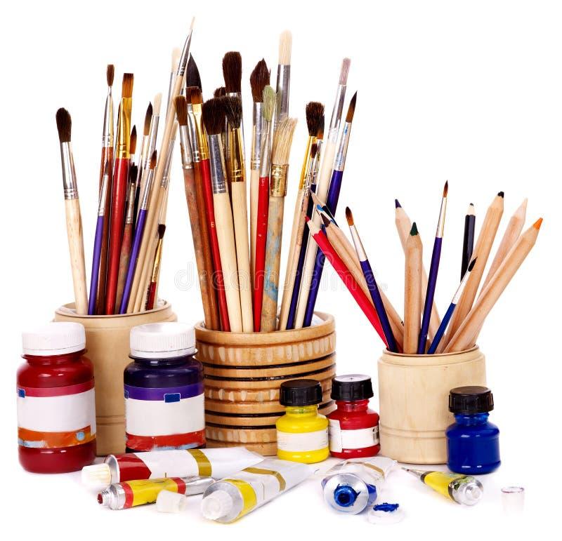 Chiuda in su degli utensili di arte. immagini stock libere da diritti