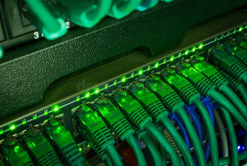 Chiuda su dei cavi verdi della rete collegati al commutatore che emette luce nello scuro fotografia stock