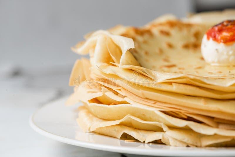 Chiuda su del bordo del pancake immagine stock libera da diritti