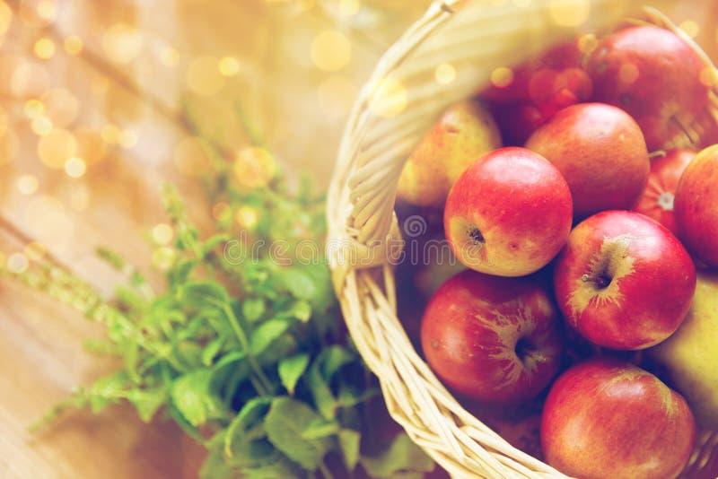 Chiuda su del canestro con le mele e le erbe sulla tavola fotografia stock libera da diritti