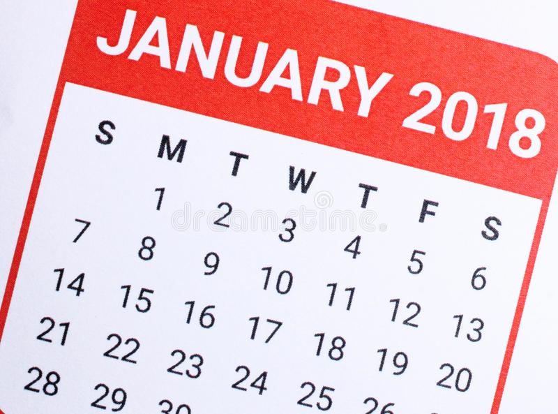 Chiuda su del gennaio 2018 fotografia stock
