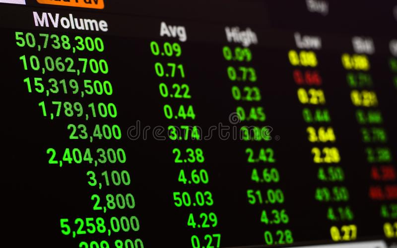 Chiuda su del grafico del mercato azionario mentre l'economia o il mercato azionario che va su Bull market e mercato sul fondo di fotografia stock