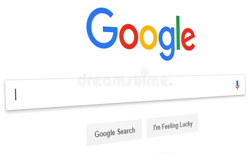 Chiuda su del homepage di ricerca con Google ed il cursore sullo schermo Google ? mondi immagini stock