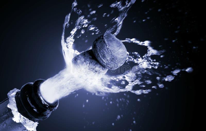 Chiuda su del sughero del champagne fotografia stock