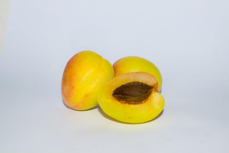 Chiuda su dell'albicocca organica fresca tre su un backgrpund bianco fotografia stock libera da diritti