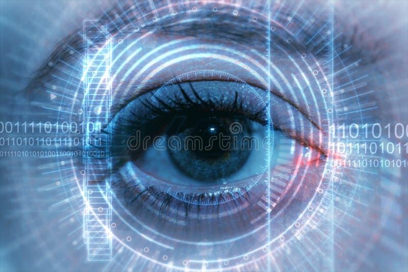 Chiuda su dell'occhio della donna in corso dell'esame illustrazione vettoriale