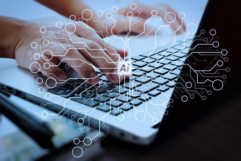 Chiuda su dell'uomo di affari che lavora al computer portatile sul de di legno illustrazione vettoriale