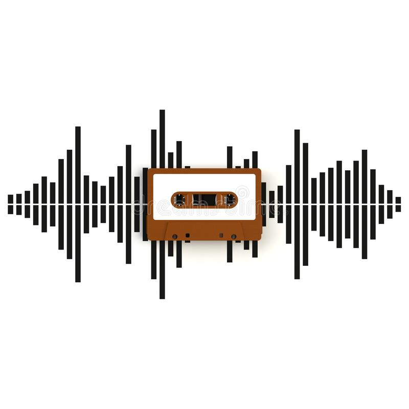 Chiuda su della cassetta di cassetta audio d'annata con l'illustrazione di concetto delle onde sonore su fondo bianco illustrazione di stock