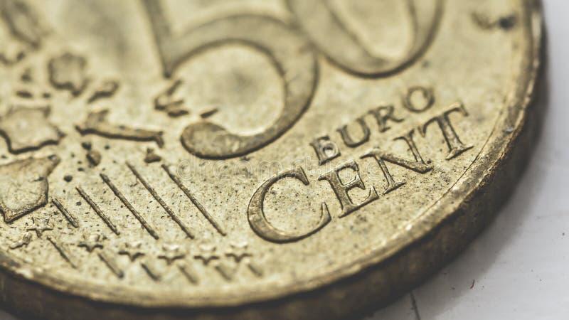 Chiuda su della moneta A dell'euro centesimo 50 immagini stock libere da diritti