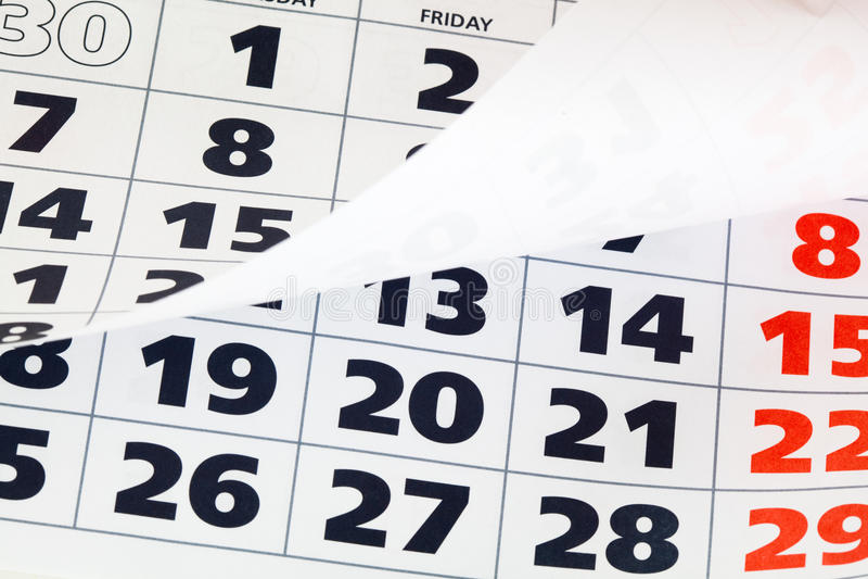 Chiuda in su della pagina del calendario fotografie stock libere da diritti