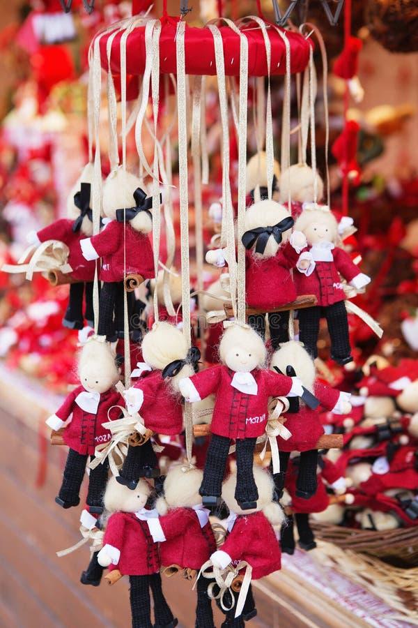 Chiuda su della stalla del mercato di Natale a Vienna, Austria Natale immagine stock libera da diritti
